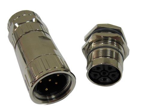 Conector circular metálico e impermeable