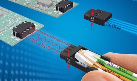 Conexión electrónica miniatura enchufable