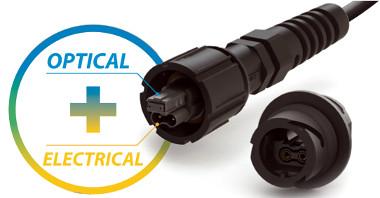 Conector híbrido de alimentación y fibra óptica
