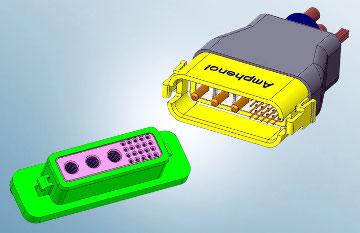 Contactos de alimentación y señal en un mismo conector