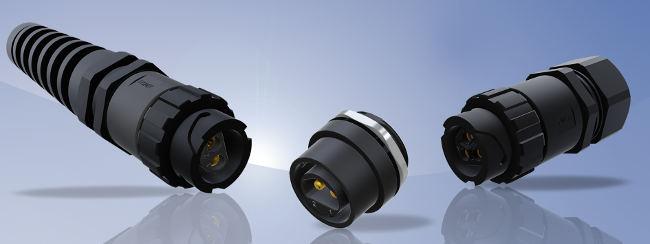 Disponibles en diversas variedades para corriente continua o alterna, estos conectores de potencia IP67 están indicados para aplicaciones en exterior y en entornos exigentes.