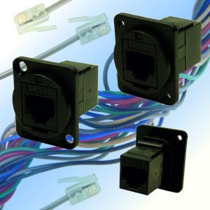 Conectores Cat3 RJ11 y RJ14 para montaje en panel