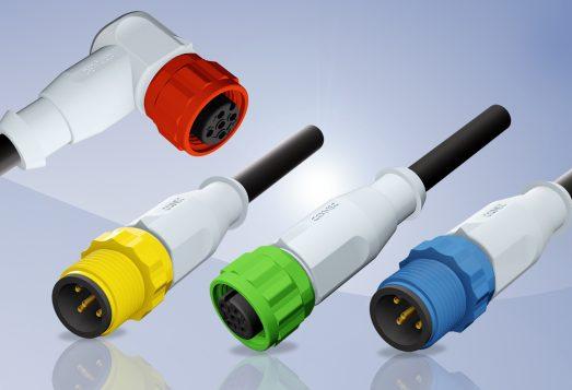 Conectores M12x1 moldeados con elementos de acople de colores