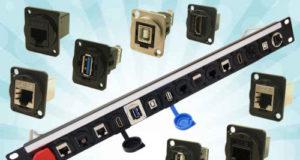 Conectores pre-ensamblados en panel de rack