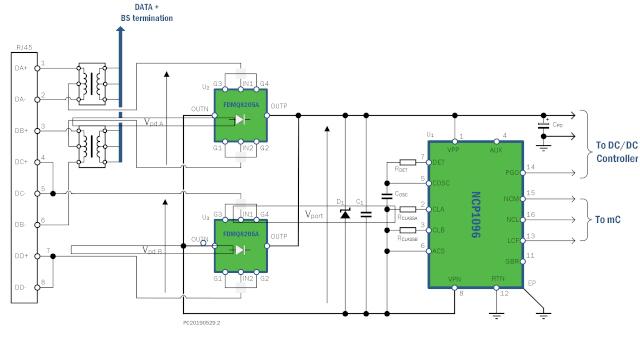 Figura 1. Esquema de aplicación en un PD de 802.3bt con los rectificadores de puente FDMQ8205A y el controlador de interfaz PoE-PD NCP1096 de ON Semiconductor para IEEE 802.3bt. (Imagen cortesía de ON Semiconductor).
