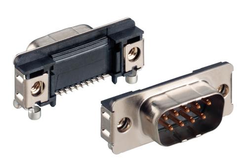 Conector D-Sub SMT angular con diseño delgado